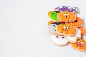 Halloween funny Cookies set on white background. Trick or Threat, Happy Halloween, Hello October, fall autumn, Festive, party and holiday concept photo