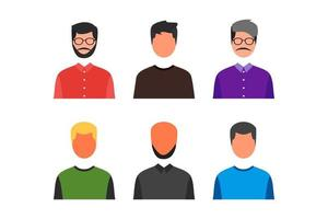 set of faceless man avatar with various style. profile picture vector