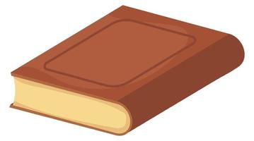 Old brown book lies in cartoon isometric style. Knowledge concept. vector