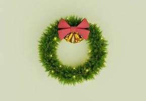 christmas wreath with golden bells photo