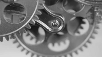 Gray Old Metallic Gears Mechanism Working Close Up video