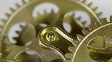 Golden Old Vintage Antique Gears Mechanism Working Zoom Out Close Up video