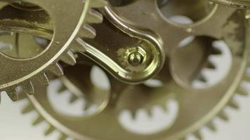 Golden Vintage Antique Gears Mechanism Working Zoom In video