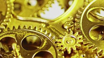 Golden Vintage Antique Gears Mechanism Working Zoom Out Close Up video