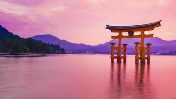Itsukushima Shrine In the middle of the water in Japan video