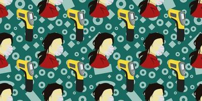 Seamless pattern of image woman wearing surgical mask and image the digital infrared laser thermometer on dark green memphis element background. vector illustration EPS10.
