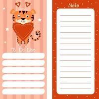 Set of weekly or daily planner, note paper, to-do list, sticker templates Merry Christmas, decorated with cute tiger vector