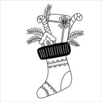 Christmas boot with gifts. Outline. Line drawing vector