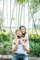 Happy Smiling Couple diversity in love moment together photo