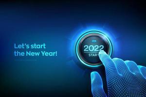 Inicio de 2022. dedo a punto de presionar un botón con el texto 2022 start. feliz Año Nuevo. Año nuevo dos mil veintiuno se acerca el concepto. ilustración vectorial. vector
