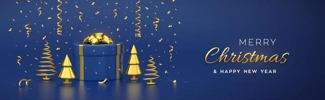 Christmas banner. Composition from gift box with golden bow and golden metallic pine, spruce trees. New Year cone shape trees. Xmas background, greeting card, header. Vector 3D realistic illustration.