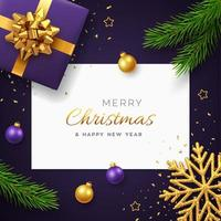 Christmas background with square paper banner, realistic purple gift box with golden bow, pine branches, gold stars and glitter snowflake, balls bauble. Xmas background, greeting cards. Vector. vector