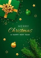 Christmas banner. Realistic green gift box with golden bow, pine branches, gold stars and glitter confetti, balls bauble. Xmas background, cover, poster, greeting cards, headers website. Vector. vector