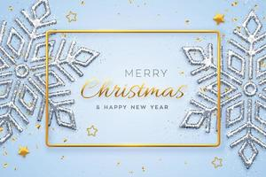 Christmas blue background with shining snowflakes, gold stars and beads. Merry christmas greeting card. Holiday Xmas and New Year poster, web banner. Vector Illustration.