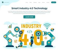 Smart Industry 4.0 concept. Industrial revolutions steps. Factory automation. Autonomous industrial technology. Colourful flat style vector illustration with characters and icons.