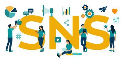SNS. Social Networking Service - is an online platform which people use to build social networks or social relationship with other people. Flat vector Illustration with icons and characters.