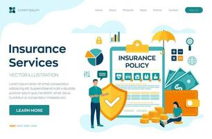 Insurance Services Concept. Protection of health, real estate, car. Family and travel safety. Insurance policy. Colourful flat style vector illustration with characters and icons.