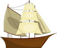 Old wooden sailing ships . Sailing vessel. Vector cartoon flat style