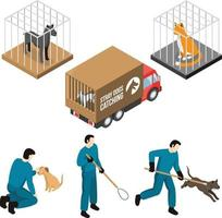 Animal Control Service Isometric Set Vector Illustration Pro Vector