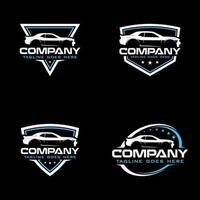Vector Abstract Sport Car Silhouette Logo Set
