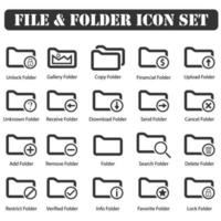 File And Folder icons set black vector