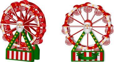 christmas ferris wheel with santa claus. christmas toys vector