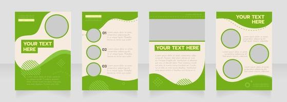 Graduation green wavy blank brochure layout design vector