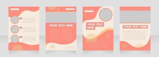Organization red wavy blank brochure layout design vector