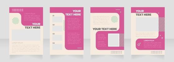Beauty parlour pink blank brochure layout design vector