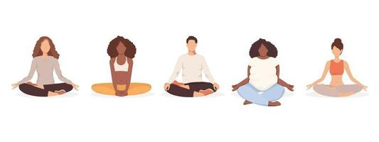 Group of people doing yoga together. Man and women sitting in lotus pose. Vector illustration isolated on white background