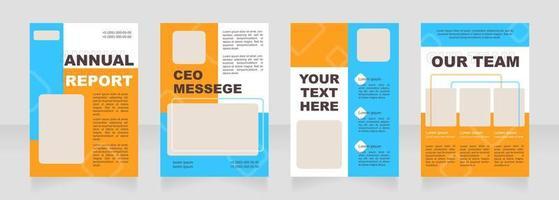 Blue and orange blank brochure layout design vector