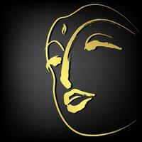 Face of buddha with golden border isolate on black background vector