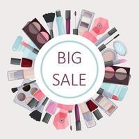 marco redondo de cosmética decorativa. publicidad de una venta. vector