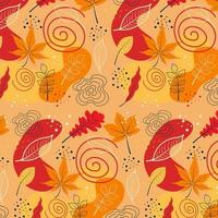 Autumn seamless pattern with different leaves and seasonal colors. vector