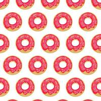 Donuts Seamless Pattern. Glazed pink donuts sweet dessert background. vector