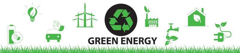 Banner design elements for sustainable energy development, vector