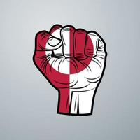 Greenland Flag with Hand Design vector