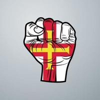 Guernsey Flag with Hand Design vector