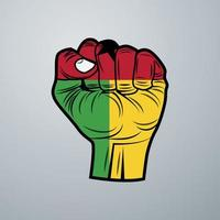 Guinea Bissau Flag with Hand Design vector