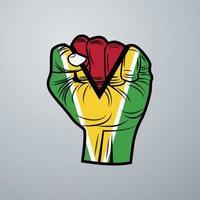 Guyana Flag with Hand Design vector