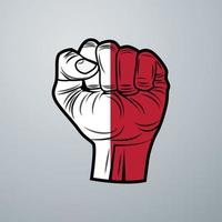 Indonesia Flag with Hand Design vector