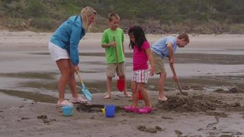 Children playing at beach. Shot on RED EPIC for high quality 4K, UHD, Ultra HD resolution. video