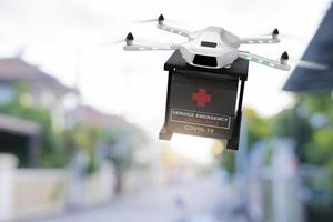 Drone technology engineering device industry flying in industrial logistic export import covid 19 vaccine delivery service logistics coronavirus transport transportation for people 3D rendering photo