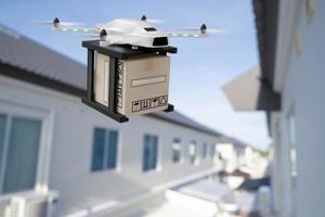 drone tecnología ingeniería dispositivo industria volando en industrial logística exportación importación producto entrega a domicilio servicio logística envío transporte transporte o automóvil autopartes representación 3d foto