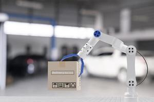inspection transport cargo box with hand robot ai machine.for service maintenance insurance with car engine.for transport automobile automotive ai and delivery online during coronavirus covid 19 photo