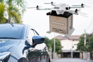 Drone technology engineering device for industry flying in industrial to logistic export import product home delivery service logistics shipping transport transportation or car auto parts showroom photo