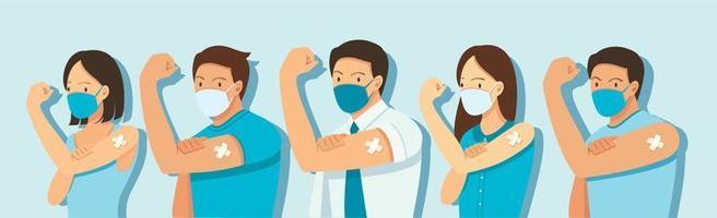 personas que se muestran vacunadas. concepto de vacunación. ilustración vectorial vector