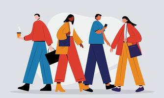Business men and women walk side profiles, people in seasonal and office clothes. Young and moving stylish characters vector