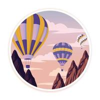 Cartoon view on the way to mountain landscape with hot air balloon flying in the hills vector