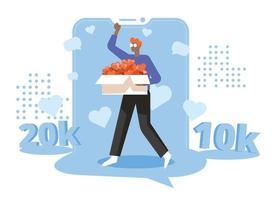 Social media growth illustration concept vector